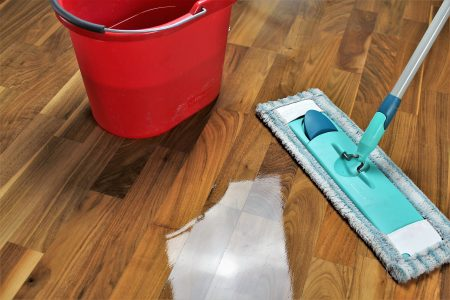 mop and bucket on hardwood floor