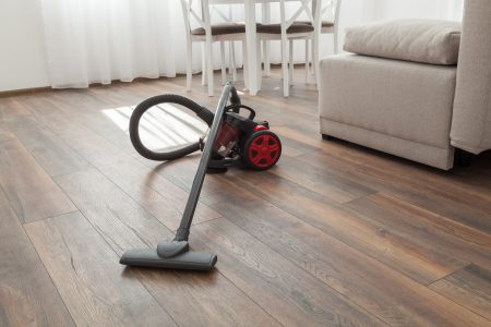 A canister vacuum on living room hardwood floor