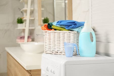 Doing laundry with green laundry detergents