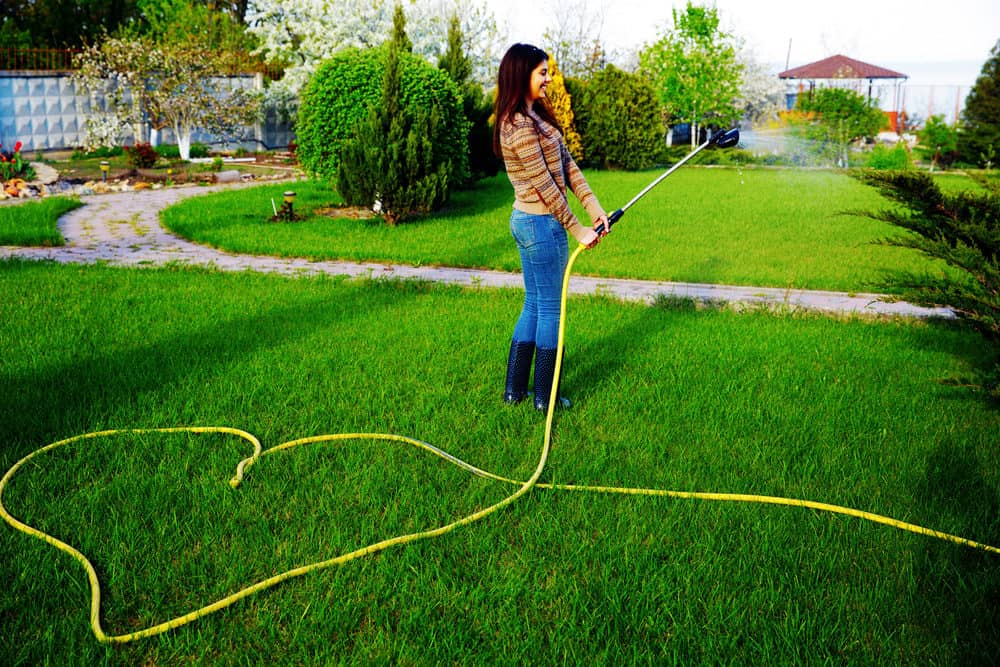 Woman watering grass with pressure washer hose